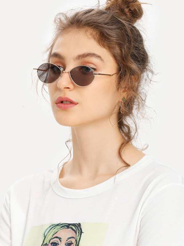 b99478465e8 Metal Frame Oval Sunglasses -SHEIN(SHEINSIDE)