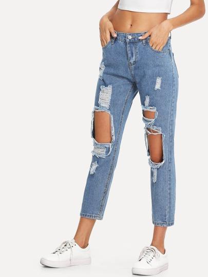 zerrissene jeans german shein sheinside. Black Bedroom Furniture Sets. Home Design Ideas