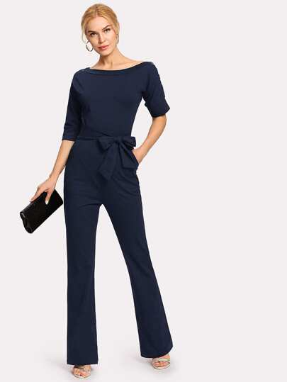 3eb096dd79 SHEIN Black And White Striped Raglan Sleeve Plus Size Belted Women Wide Leg  Jumpsuits Office Lady ...