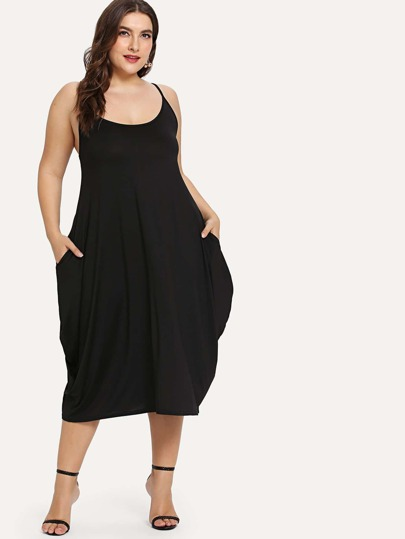 Plus Hidden Pocket Solid Cami Dress d6f8a529b6c6