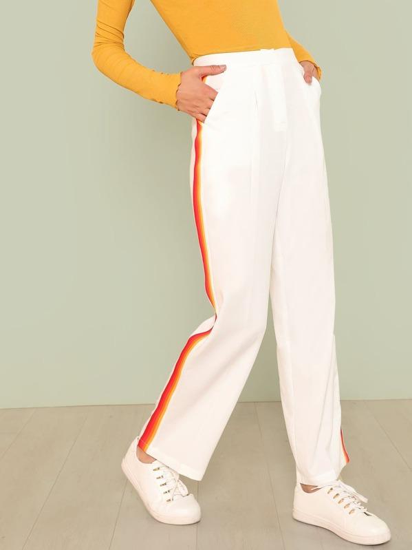 Pantalones de lado con cinta de rayas con bolsillo oblicuo  3f133eb5fb2