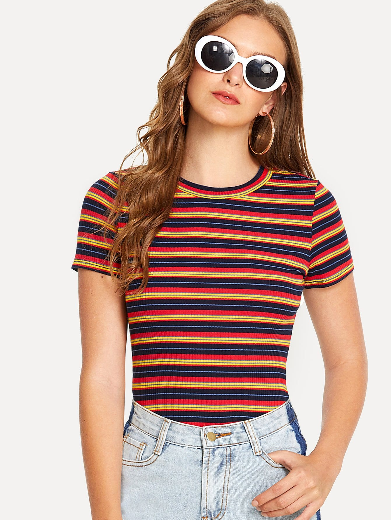 1aa32e55750dd4 Forever 21 Rainbow Stripe Mesh Tee in White - Lyst