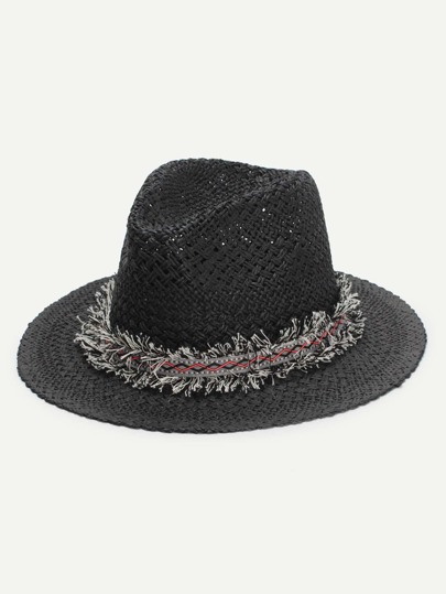 Frayed Band Straw Fedora Hat. AddThis Sharing Buttons 02227ebdf4b9