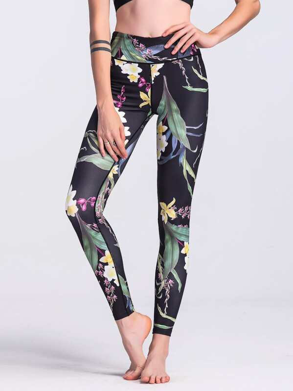 Floral Print Leggings -SheIn(Sheinside) e389a3d4c25