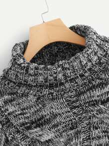 e2926694c44c Marled Knit Cable Sweater -SheIn(Sheinside)