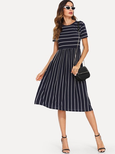 5c6d40d969c6 Mixed Stripe Midi Smock Dress
