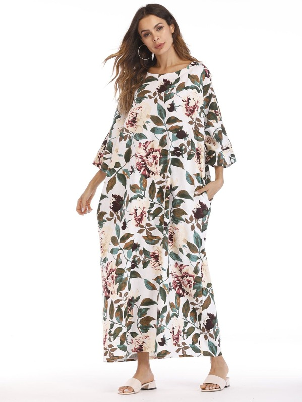 Leaf Print Cocoon Maxi Dress, Multicolor