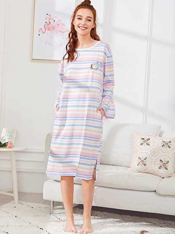 Bear Print Striped Dress, Multicolor, Poly