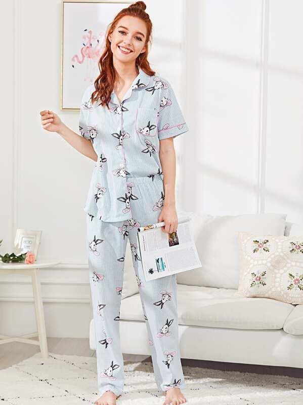 9eb2bfdedd Contrast Binding Rabbit Print Pajama Set -SheIn(Sheinside)