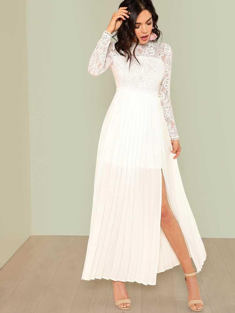 9bcec2f54 فستان الدانتيل حافة الكسرات | شي إن
