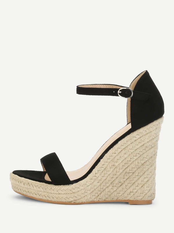 95ee33c0c831c4 Two Part Espadrille Wedge Sandals -SheIn(Sheinside)