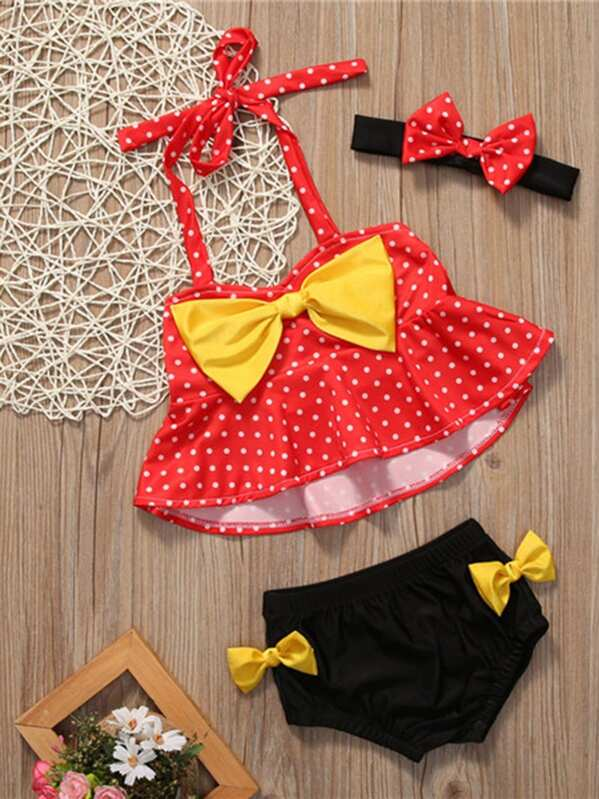 50f633ed86886 Toddler Girls Baby Girl Polka Dot Print Bow Tankini Set -SheIn ...
