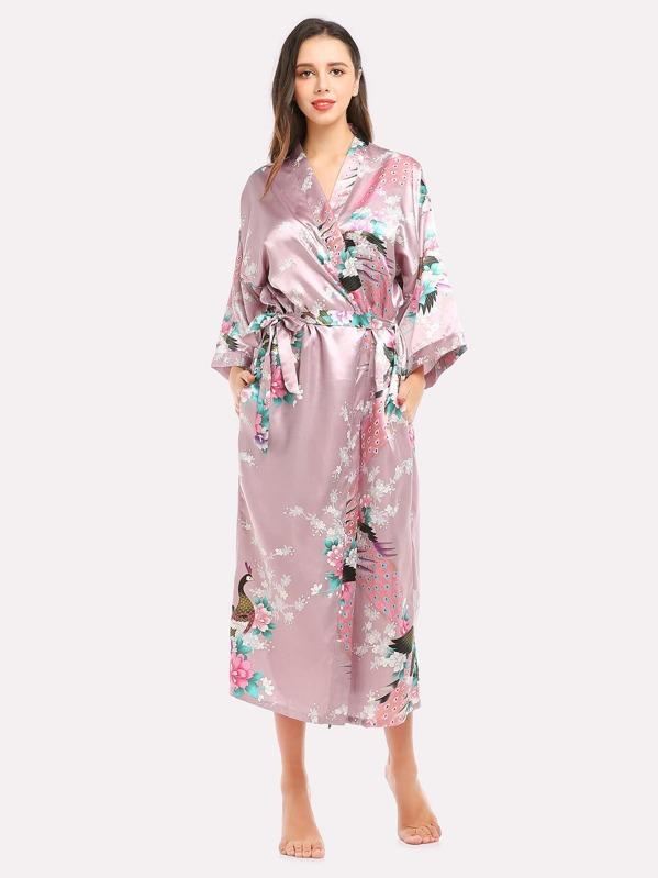 Robe Longue Imprimee Fleur Et Paon Avec Lacet French Shein Sheinside