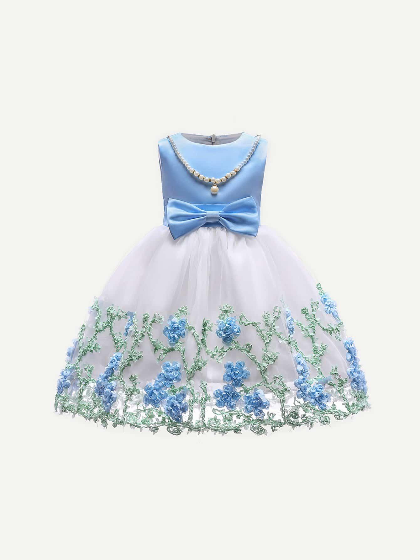Girls Candy Pattern Mesh Overlay Ball Gown -SheIn(Sheinside)