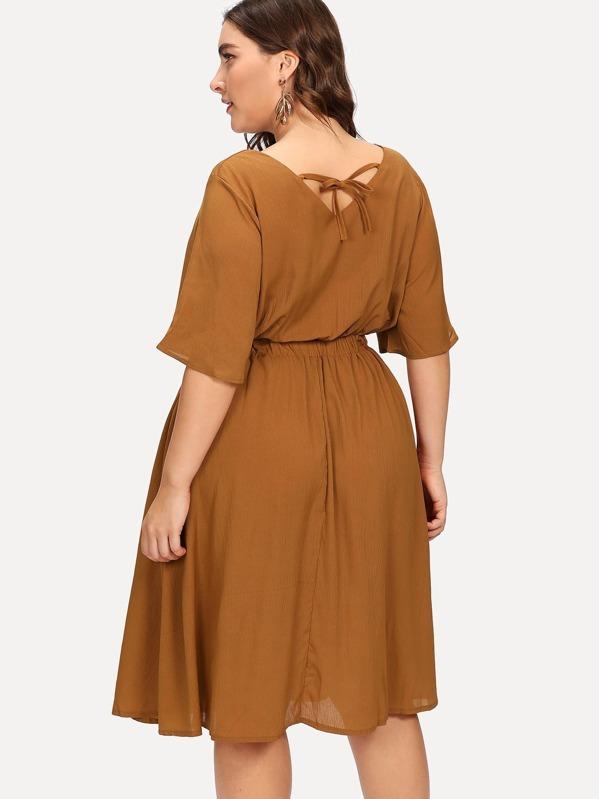 8fbf6b35d3 Plus V Cut Back Knot Detail Dress -SheIn(Sheinside)