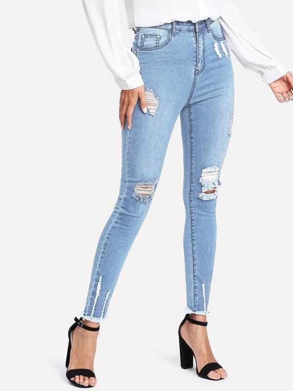 Tillfällig Rev Blå Jeans -Svenska SHEIN(SHEINSIDE) 8ada1be8c1c0f