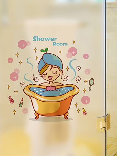 shower room wall sticker -shein(sheinside)