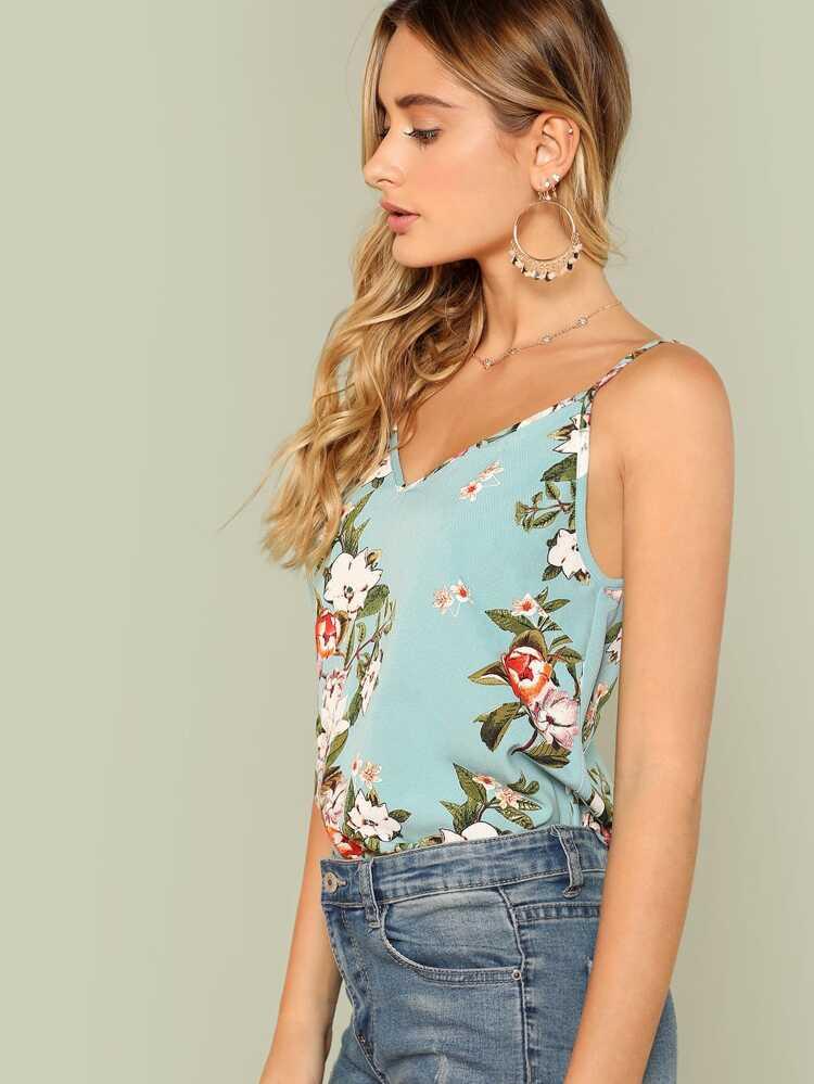62a2690550 Flower Print Cami Top   SHEIN
