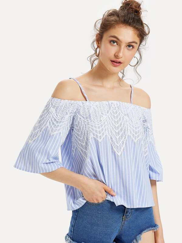83492eaa103757 Cheap Lace Applique Striped Cold Shoulder Top for sale Australia