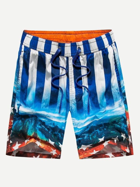0846e0c3067e Пляжные шорты с принтом флаг США для мужчин