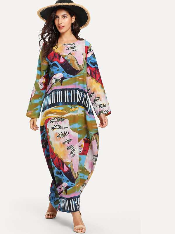 Graphic Print Hidden Pocket Maxi Cocoon Dress, Multicolor, Jeane