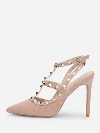 4798d950637 Studded Strap Gladiator Heels