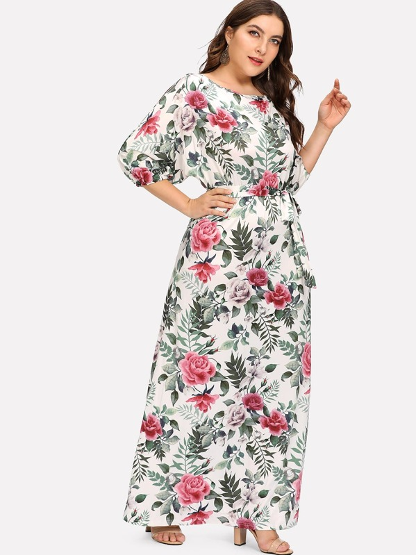 Plus Floral Print Knot Side Dress