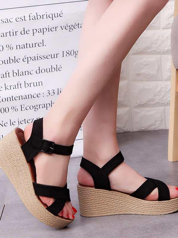 4e3bdf48b33 Criss Cross Wedge Sandals -SheIn(Sheinside)