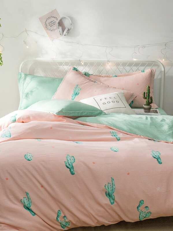 cactus print chevron sheet set sheinsheinside - Cactus Bedding