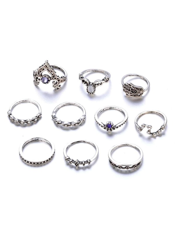 93b3bf1caa Crown Detail Vintage Rings Set 10pcs -SheIn(Sheinside)
