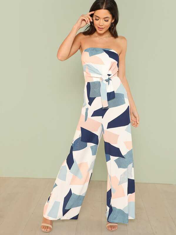 Geo Print Knot Bandeau Jumpsuit by Shein