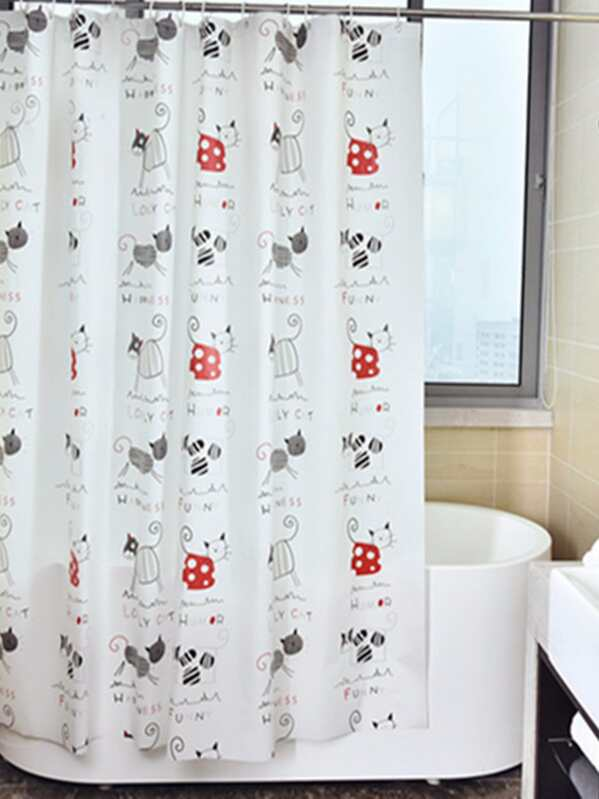 Cat Overlay Eyelet Shower Curtain 1pc With Hook 12pcs SHEINSHEINSIDE