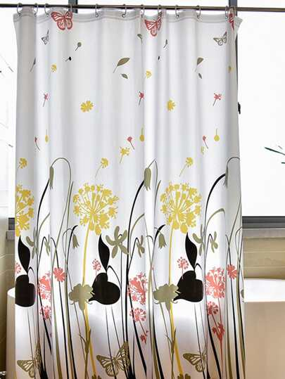 Floral Eyelet Shower Curtain 1pc With Hook 12pcs