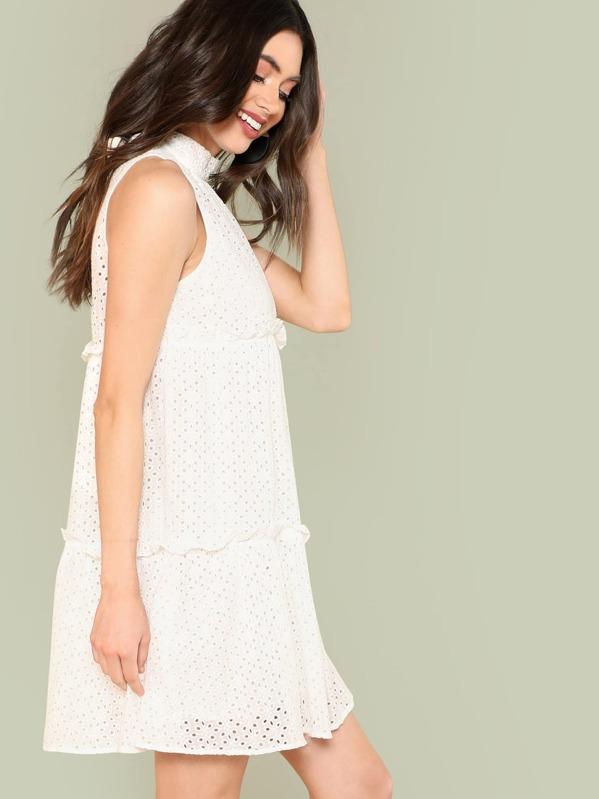 9a4639ed6b Knot Back Frill Trim Guipure Lace Dress -SheIn(Sheinside)
