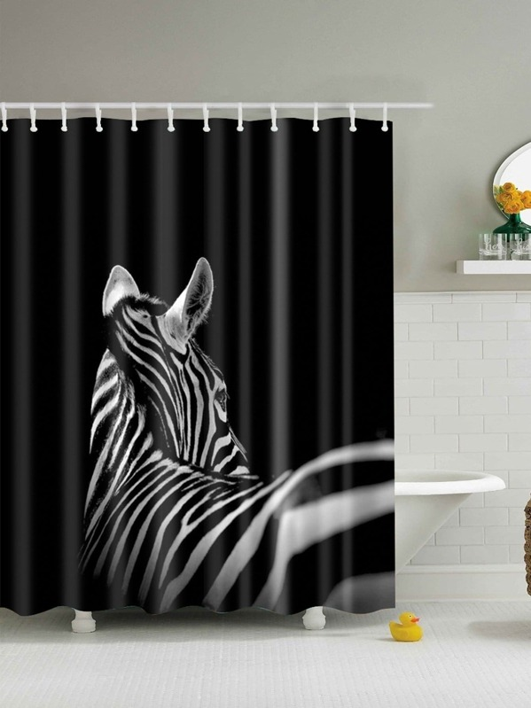 Zebra Print Shower Curtain 1pc With Hook 12pcs SHEINSHEINSIDE