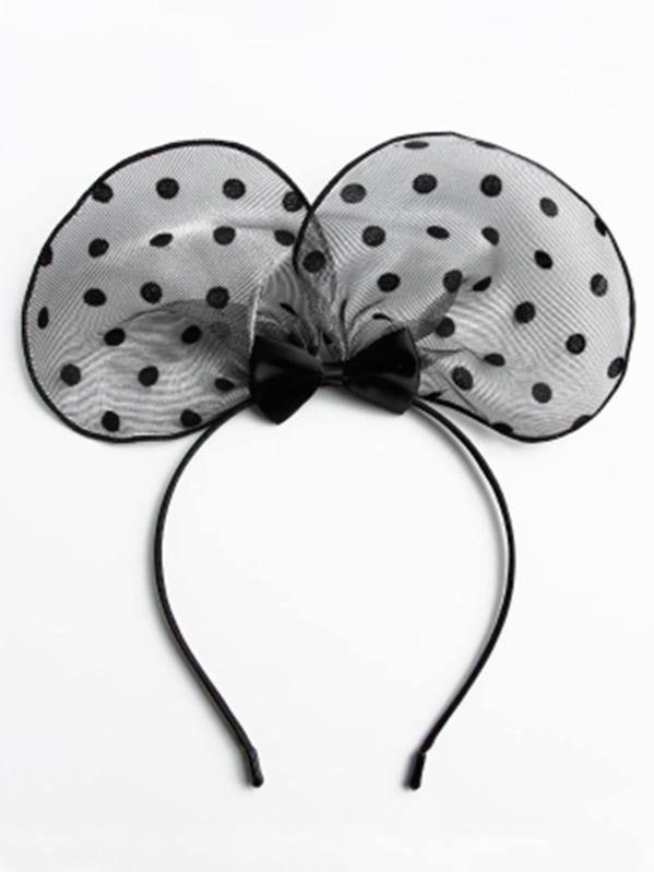 Dot Mesh Ear Headband -SHEIN(SHEINSIDE) 7e47c040bf6