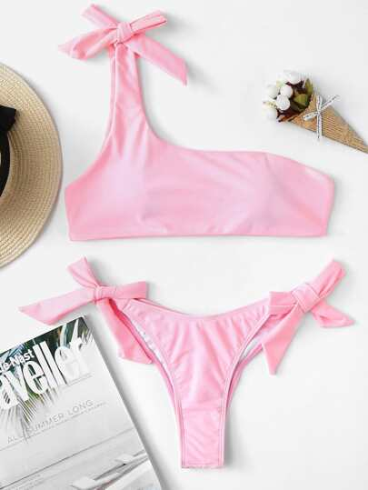 1d07328b782 color sólido Cinta Bikinis rosa Traje de baño