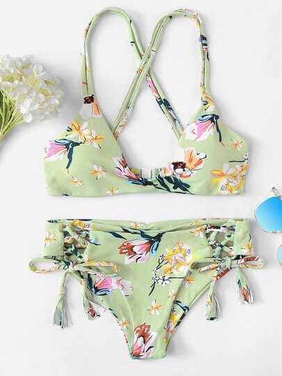 23b8a14f369 floral con cinta Bikinis Multicolor Traje de baño