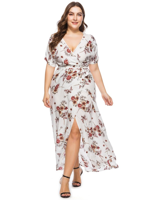 Plus Floral Print Knot Waist Split Dress