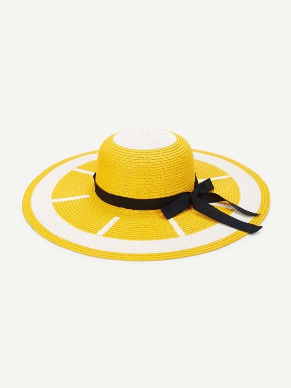 Sombrero de paja con patrón de limón con nudo-Spanish SheIn(Sheinside)