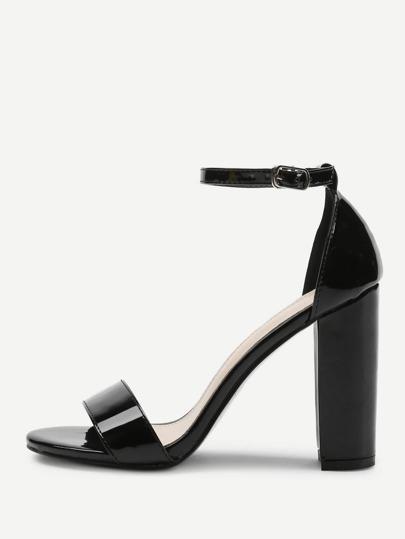 680fe70eda06 Two Part Block Heeled PU Sandals -SheIn(Sheinside)