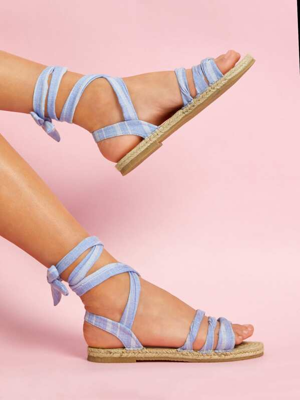 23566bf4506 Tie Leg Strappy Flat Sandals -SheIn(Sheinside)