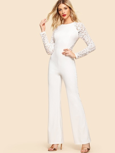574f9949203f Lace Insert Raglan Sleeve Flare Hem Jumpsuit -SheIn(Sheinside)