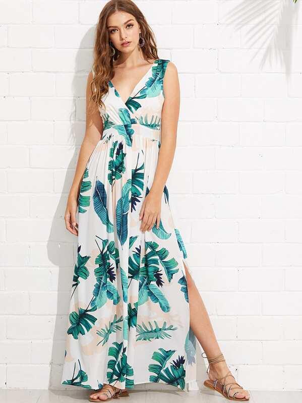 Jungle Leaf Print Wrap Dress -SHEIN(SHEINSIDE) 00b461084