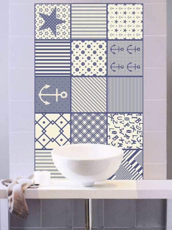 Random Stripe Star Ceramic Tile Sticker Pc SheInSheinside - Ceramic tile star designs