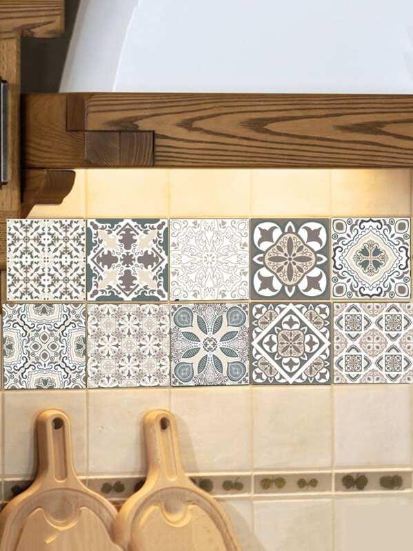 Random Symmetrical Pattern Ceramic Tile Sticker 60pc SHEINSHEINSIDE Stunning Random Tile Pattern