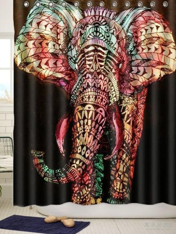 Elephant Shower Curtain With Hook 12pcs SheInSheinside