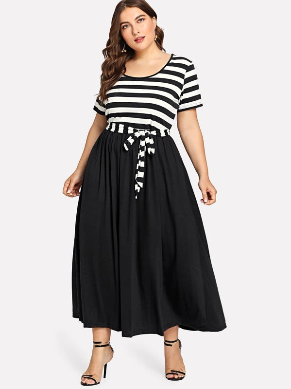 Plus Striped Bodice Belted Dress by Shein