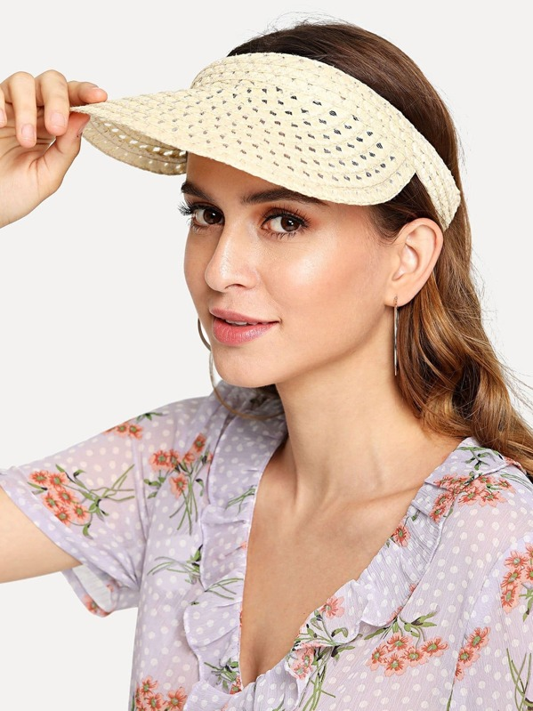 Cut Out Straw Visor Hat  ee9d40db3a8