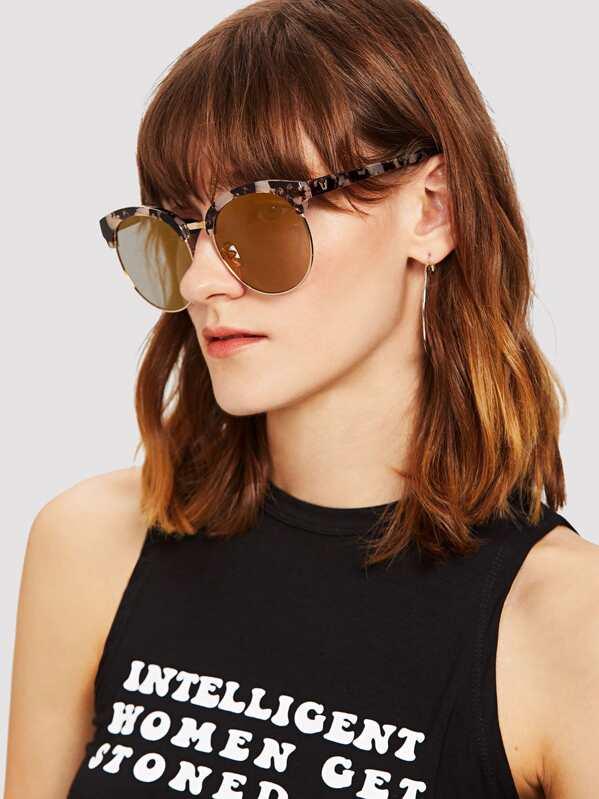 34012a5d5ae Marble Print Frame Mirror Lens Sunglasses -SheIn(Sheinside)